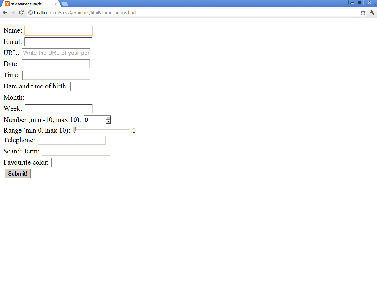 form example in google chrome